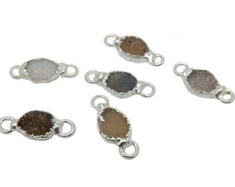 Tiny Freeform Druzy Double Bail Pendant with Electroplated Silver Edge (S120B6-03)