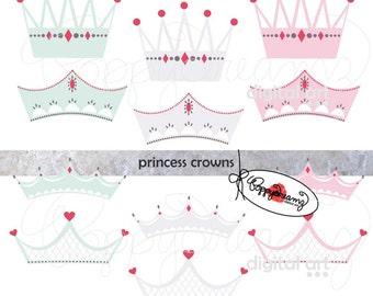 Princess Crowns: Clip Art Pack (300 dpi transparent png) Girly Princess Crown Tiara Queen Little Girl Royal Clipart