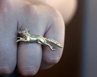 Golden Fox Ring, Golden Best Friend Gift, Fox and Rabbit Ring Set, Alternative Woodland Friendship Rings, Adjustable Ring for Women