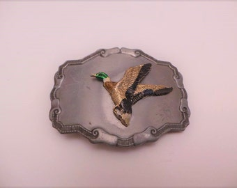 Vintage Men's Belt Buckle - Flying Mallard Duck Belt Buckle - Present for him - Belt Buckle Collectors
