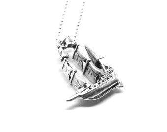 Pirate Necklace, Pirate Ship Necklace, Pirate Jewelry, Pirate Ship Pendant, Pirate Ship Jewelry, Charm Necklace, Sterling Silver Jewelry