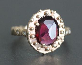 Pink Rhodolite Garnet Ring - OOAK 14K Gold Baroque Setting - Pebble Band Flush-Set with Diamonds (Size 7 or Resize) - Statement Ring