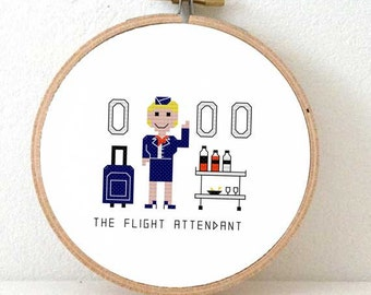 2 x modern cross stitch pattern Stewardess. Fun gift for flight attendant. Air hostess embroidery design