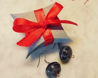 Round Blue Night Earrings
