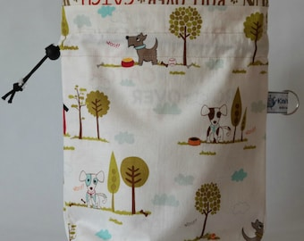 Small drawstring project bag dogs