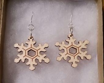 Laser Cut Snow Flake Earrings