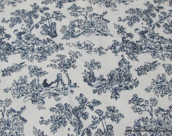Flannel Fabric - Scenic Toile Dark Blue - By the yard - 100% Cotton Flannel