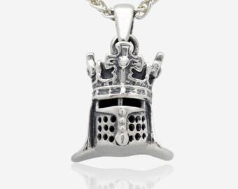 Sterling Silver Knight Helmet Pendant Medieval King Royal