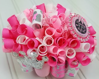 Funky Loopy Bow - Mommy Is My Stylist - Pink, Silver & White - White Tulle Puff - READY TO SHIP