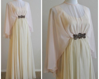 Vintage 60's 70's Emma Domb of California Hollywood Drapery Shawl Collar Sherbert Ice Cream Chiffon Event Maxi Dress
