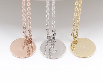 Disc Initial Necklace, Dainty Disc Necklace, Gold Initial Necklace, Monogram Disc Charm, Bridesmaid Gift, Birthday Gift, Rose Gold