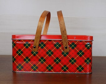 Vintage Plaid Metal Picnic Basket with Wooden Handles
