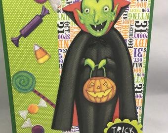 Halloween Greeting Card - Dracula Vampire Candy Trick or Treat Halloween Card