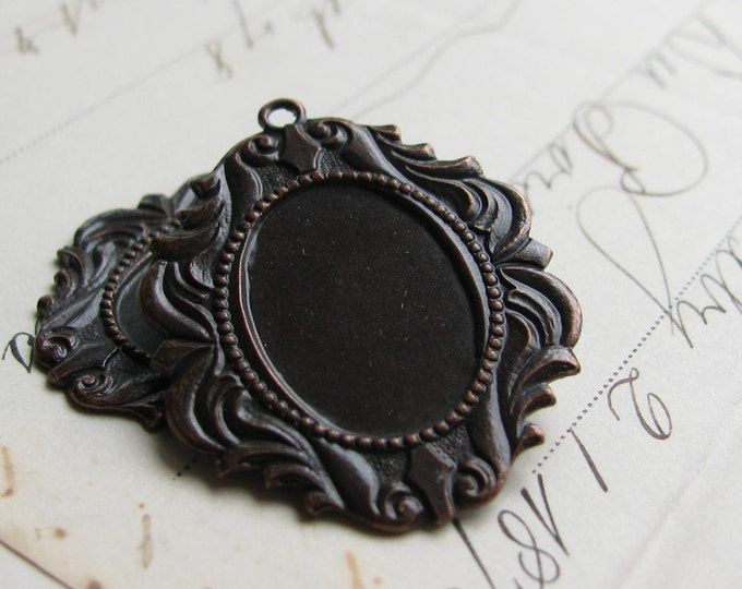 18 x 13mm Victorian brass frame setting - fits cameos and cabochons - antiqued black - closed back (2) 18x13 13x18 18x13mm 13x18mm CF-SV-007