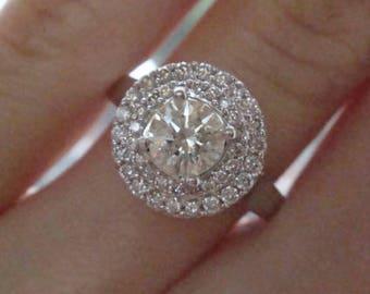 18ct white gold diamond cluster 1.14ct ring