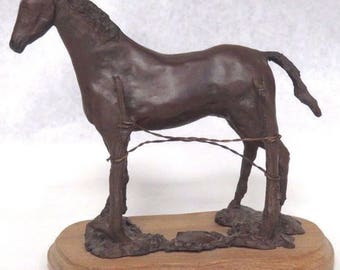 Vintage Bronze Mare Horse by Wire Fence Wooden Base Signed JEJ 78