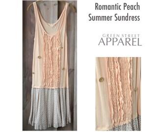 Romantic Sundress, Summer Sundress, Upcycled Clothing, Refashioned Clothing, Sleepwear, Beach Coverup, Boho Sundress, Sheer Sundress