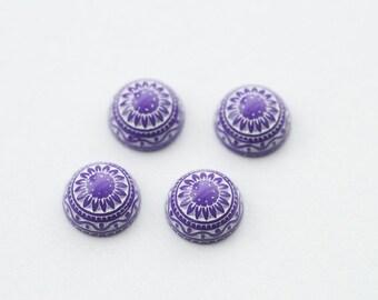 4 PCs./ 10mm Vintage etched mosaic cabochons / Color: purple-white / flat back   MC012