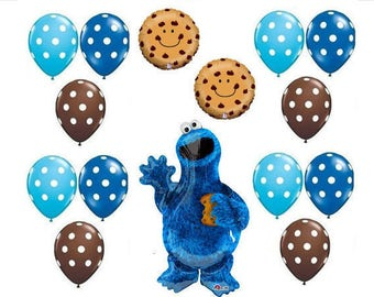 15 peice Sesame Street Cookie Monster Balloons birthday party supplies shower