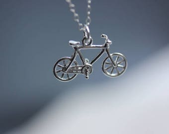 925 Sterling Silver Bike  Necklace - Bicycle pendant Necklace - Sports Jewelry - Bike Jewelry - Silver Bicycle necklace - Gift for her