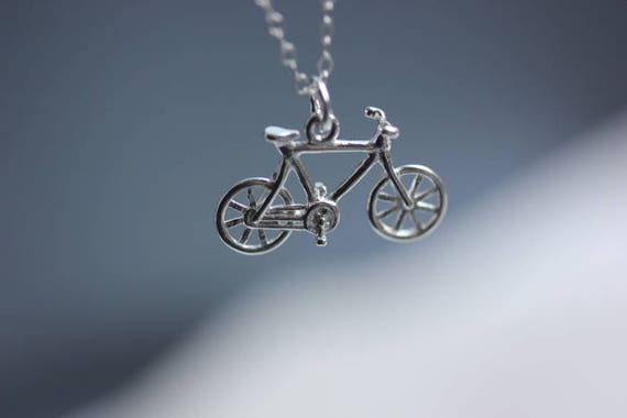 925 sterling silver bike necklace bicycle pendant necklace aloadofball Image collections