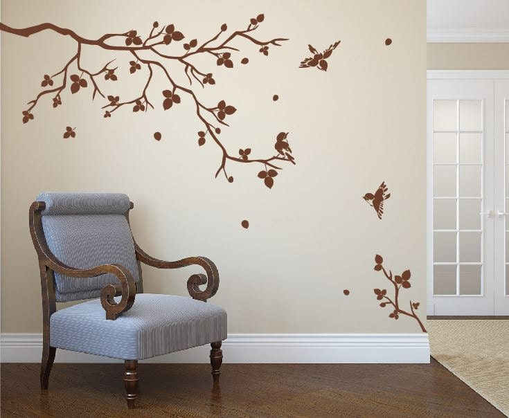 Vinilo arte realista natural rbol rama con p jaros fresco - Calcomanias para paredes ...