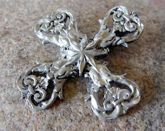 Silver Metal Cross, Ornate Cross, Cross Pendant, Handcrafted Cross