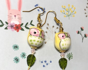 Cute Lil owl dangle earrings with Czech glass and Swarovski Crystal beads