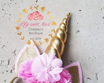 Pink and gold Unicorn headband, Unicorn headband, unicorn party headband, gold glitter elastic unicorn headband, pink gold unicorn
