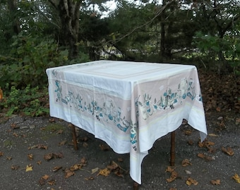 Vintage Tablecloth Mid Century Table Cloth RV Decor Retro Camper Decor  Square Tablecloth French Country Cottage Style Table Linens