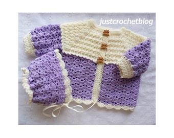 Crochet Coat and Bonnet Baby Crochet Pattern (DOWNLOAD) 155BFJC