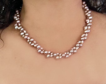Natural Colored Two-Tone Pink Pearl Torsade Necklace