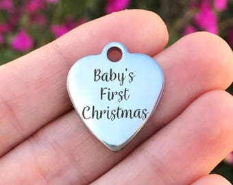 Christmas Stainless Steel Charm - Baby's First Christmas - Laser Engraved - Silver Heart - 19mm x 22mm - Quantity Options - F4L458