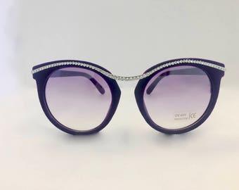 Cateye Fashion Sunglasses made with Swarovski Crystals  UV400