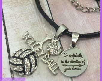 Volleyball Necklace - End of Season Volleyball Gifts - Team Gifts, Graduation Gift, Senior Night, Go Confidently In The Direction - I Heart