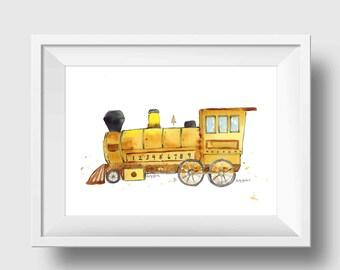 Train Nursery Print - Steam Engine Train Print -  Boys Train Print - Yellow Train Print - Train Wall Art