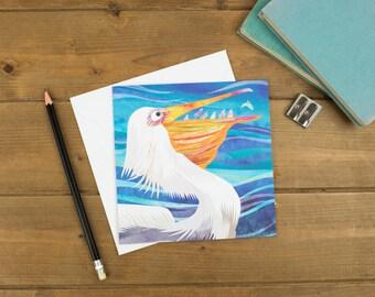 Peckish Pelican Greetings Card