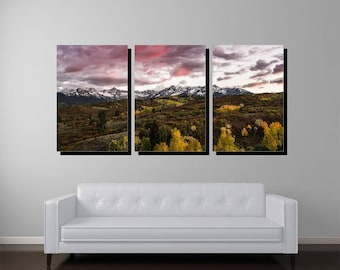 Colorado Fall Sunset, Triptych Gallery Wrapped Canvas, Colorado Art, Colorado Print, Colorado Photography