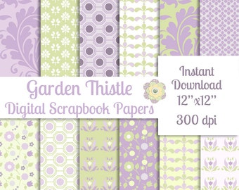 Lavender and Green Digital Scrapbook Paper Pack Printable Instant Download Background Papers Collage Sheet