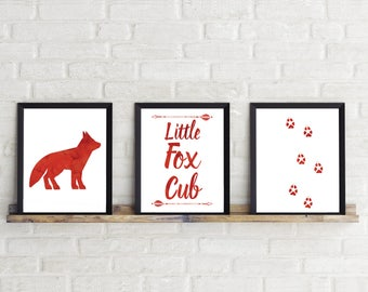 Set of three,Fox,neutral,nursery Decor,red,fox art,Nature,woodland,watercolor,wildlife,Prints,Nursery Art,gift for baby,digital download,A4