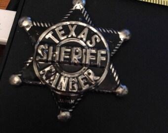 Vintage Pin Button;Texas Sheriff Ranger toy badge, tin, made in Japan