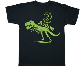 T Rex Skeleton Dinosaur Birthday Shirt - any age and name - pick your colors!