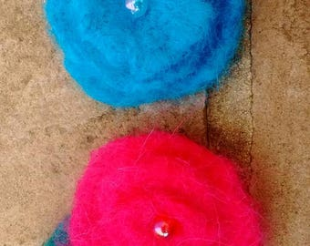 Hand felted rose brooches