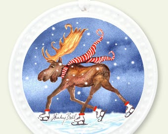 skating moose Christmas ornament- tree ornaments- moose in snow christmas decoration- moose ornament- moose lovers gift