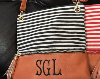 Monogram Crossbody Purse, Striped Crossbody Clutch, Monogrammed Purse, Monogram Crossbody Bag with Tassels