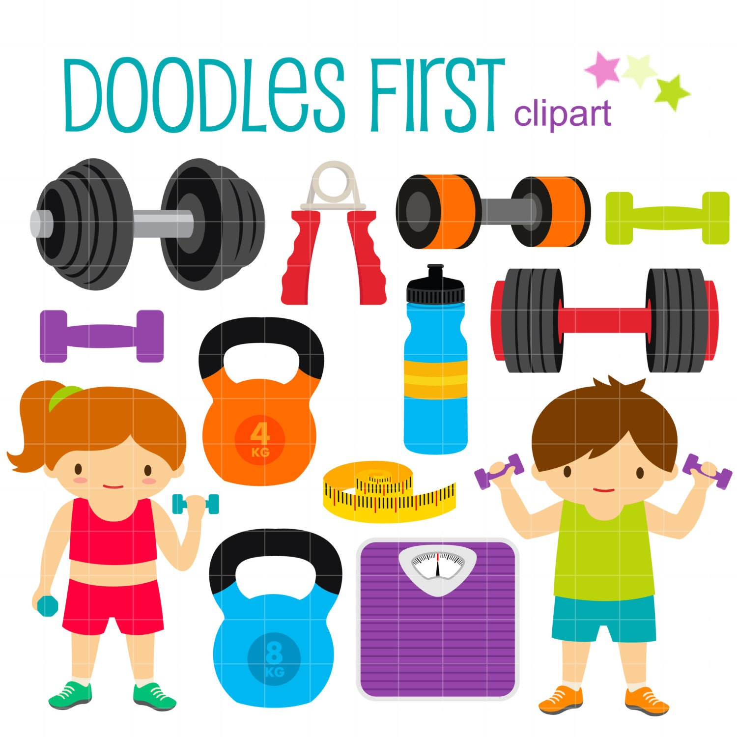 fitness gym digital clip art for scrapbooking card making rh etsy com gym clipart gif gym clipart