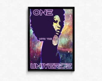 beautiful black woman, constellations drawing pretty girl art prints poster.