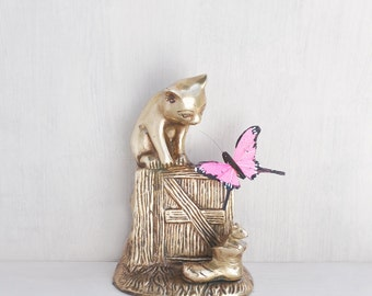 "SALE! Vintage Brass Cat Figurine - 5.5"" kitty on fence with mouse in a boot single bookend -  cat lover decor"