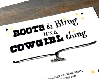 Boots and bling it's a cowgirl thing wish bracelet-cowgirl wish bracelet-Cowgirl bridal shower-cowgirl party favors -cowgirl jewelry