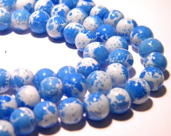 50 beads in glass - 6 mm - blue sky F143 5